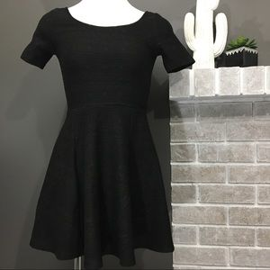 Divided Black Textured Shortsleeve Scoop MiniDress